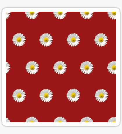 Polka Daisies (on Red) Glossy Sticker