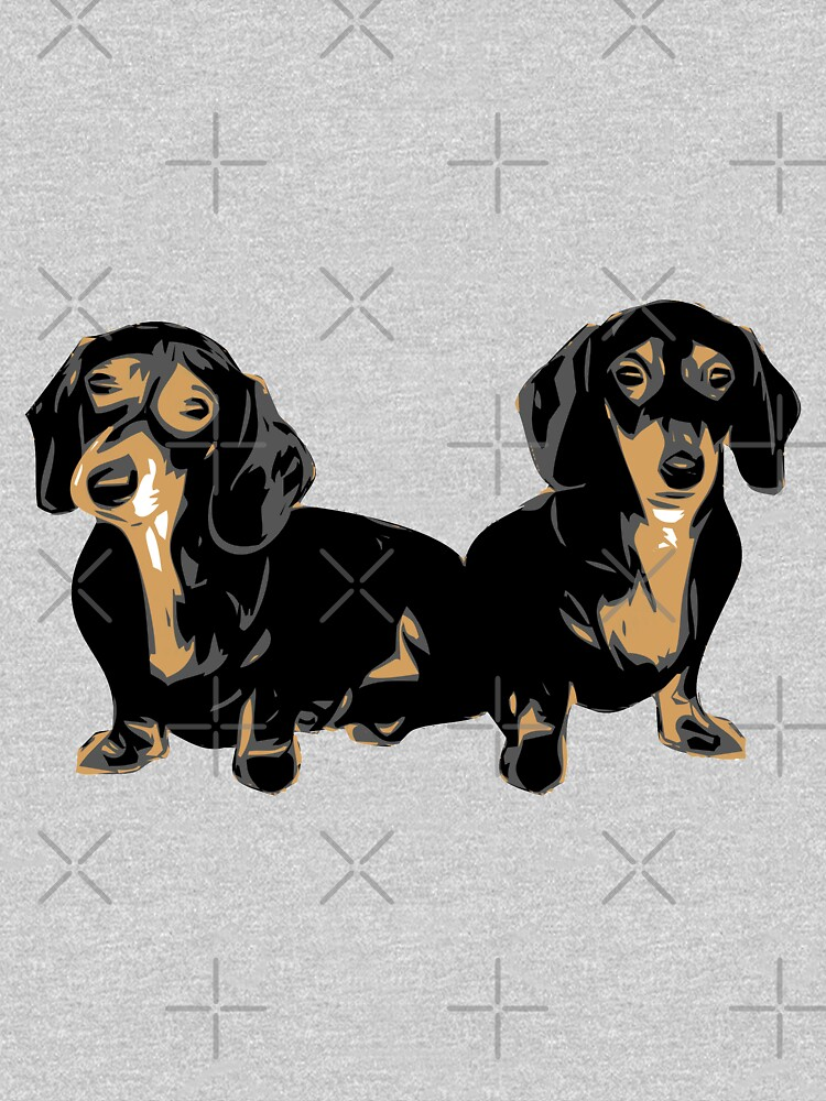 Two Dachshund Puppies Colour Vector by tribbledesign
