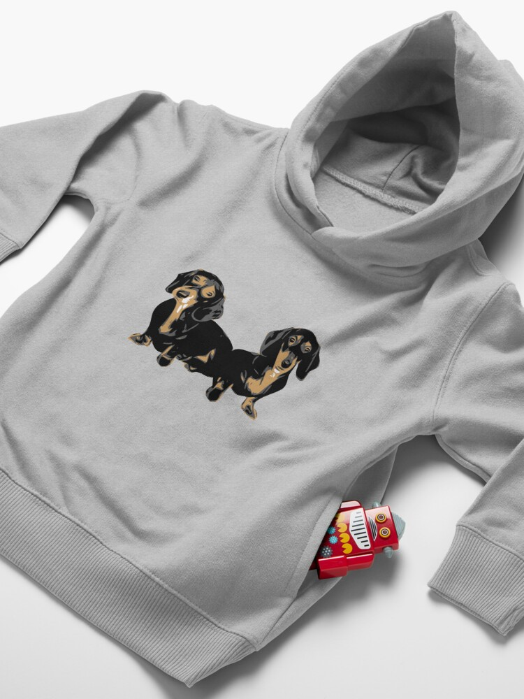 Alternate view of Two Dachshund Puppies Colour Vector Toddler Pullover Hoodie