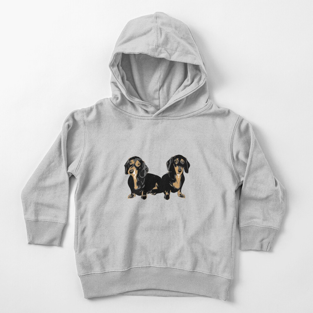 Two Dachshund Puppies Colour Vector Toddler Pullover Hoodie
