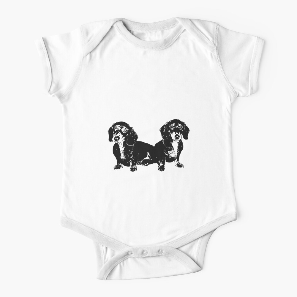 Two Dachshund Puppies Baby One-Piece