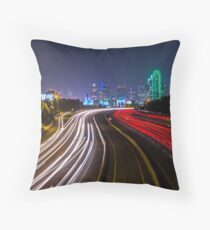 Downtown Dallas Light Trails Throw Pillow
