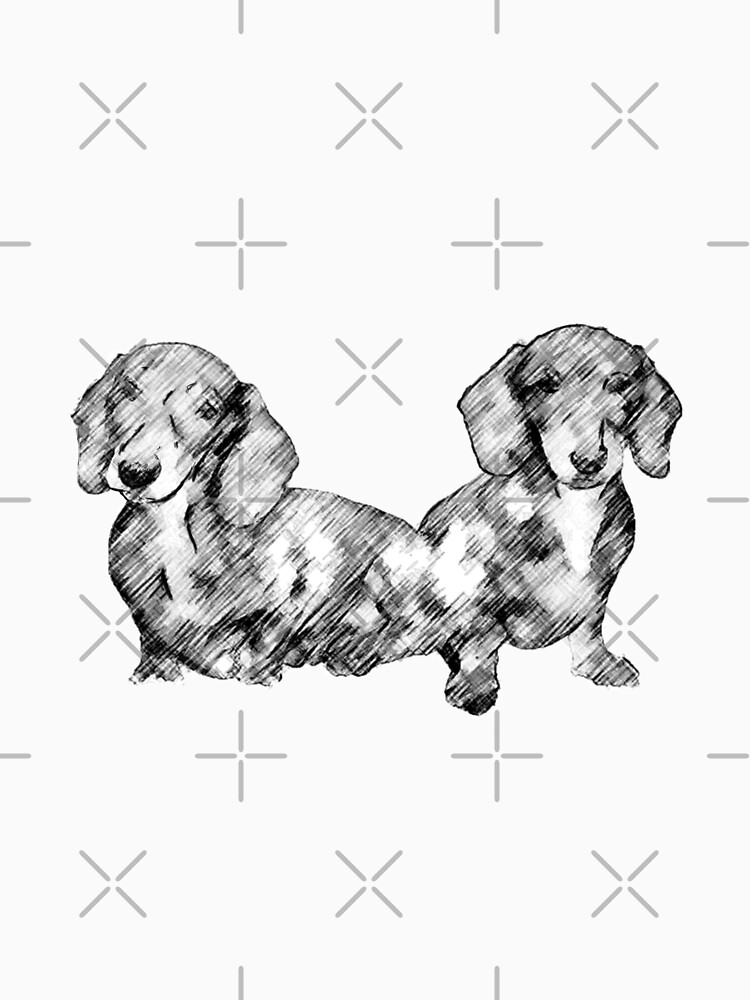 Two Dachshund Puppies Line Drawing Style by tribbledesign