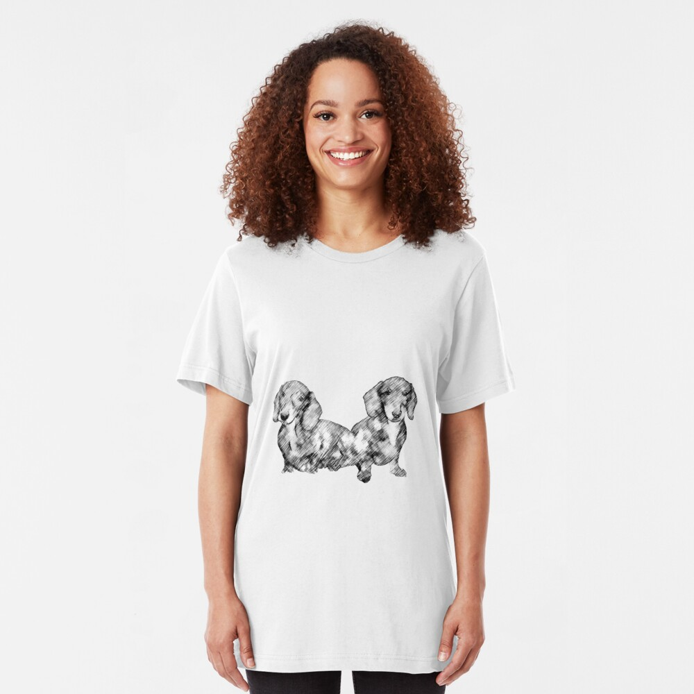 Two Dachshund Puppies Line Drawing Style Slim Fit T-Shirt