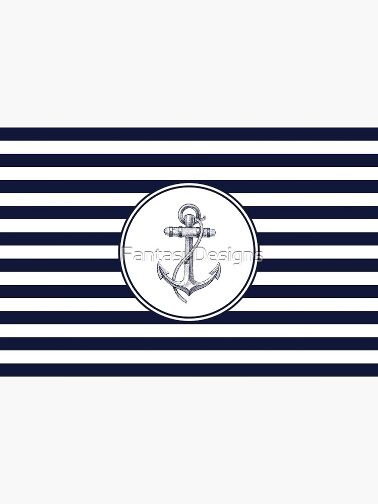 Anchor and Navy Blue Stripes by FantasyDesigns