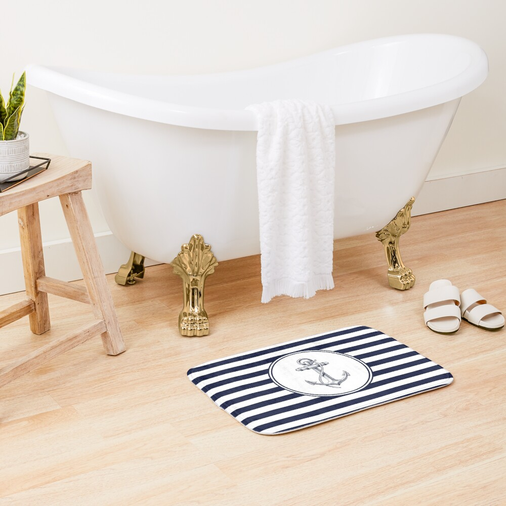 Anchor and Navy Blue Stripes Bath Mat
