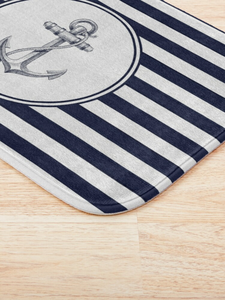 Alternate view of Anchor and Navy Blue Stripes Bath Mat