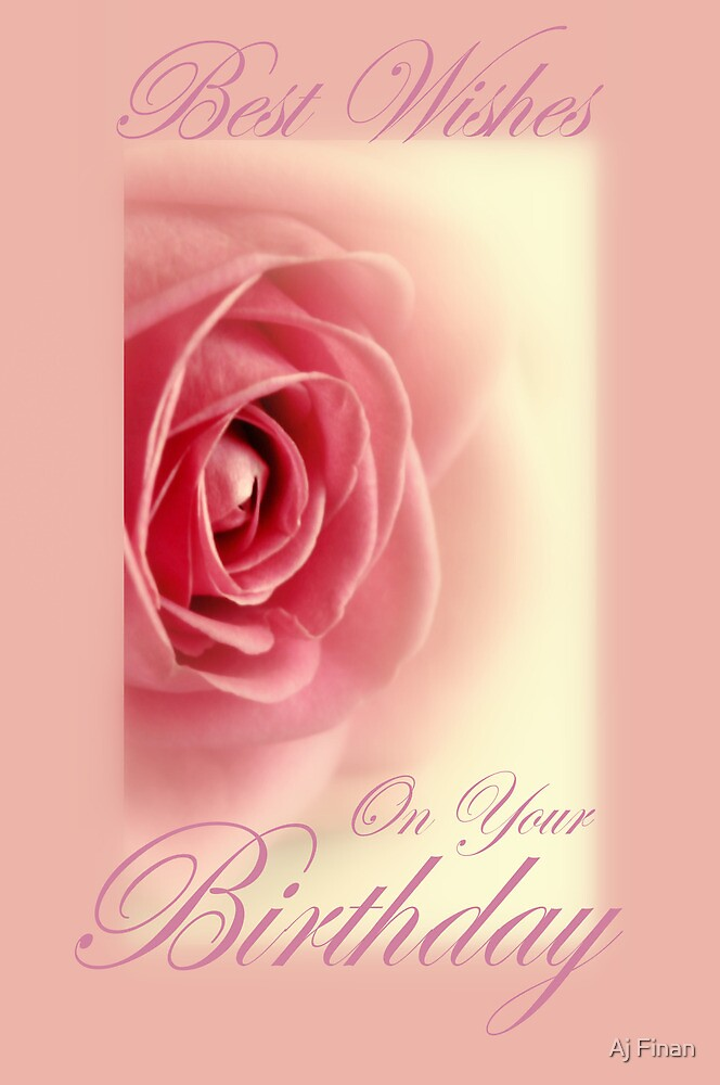 Rose Birthday Card. by Aj Finan