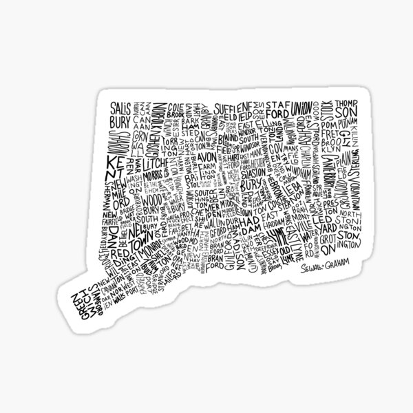 Connecticut Typography Map Sticker