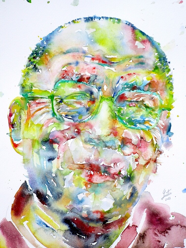 14th DALAI LAMA - watercolor portrait by lautir