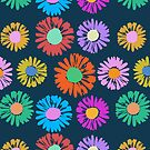Pop Art Flowers on Blue by BigFatArts