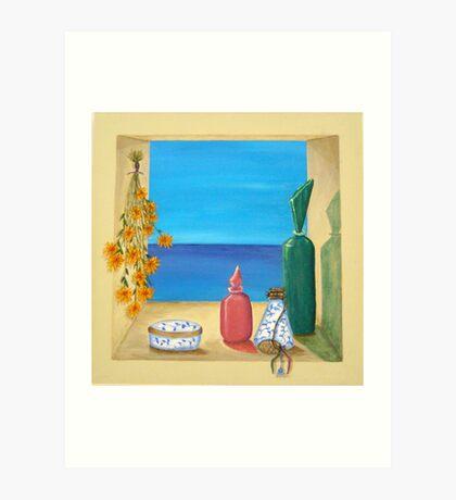 Ocean View & Perfume Bottles Art Print
