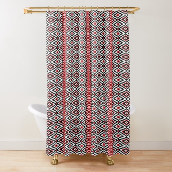 Ethnic decorative pattern design- red black and white   Shower Curtain