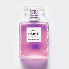 Rosa Parfümflasche, Modekunst, moderne Kunst, Wandkunst, minimalistisch von juliaemelian