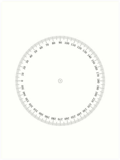 graphic relating to Printable Protractor 360 identify PROTRACTOR, 360 Amount, Stages, Angles, Circle, Math, Education and learning. Artwork Print as a result of TOM HILL - Designer