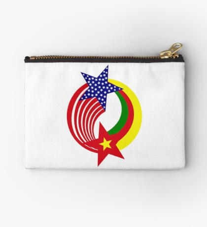 Cameroon American Multinational Patriot Flag Series Zipper Pouch