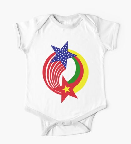Cameroon American Multinational Patriot Flag Series Kids Clothes