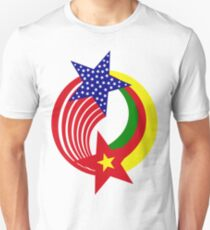 Cameroon American Multinational Patriot Flag Series Slim Fit T-Shirt
