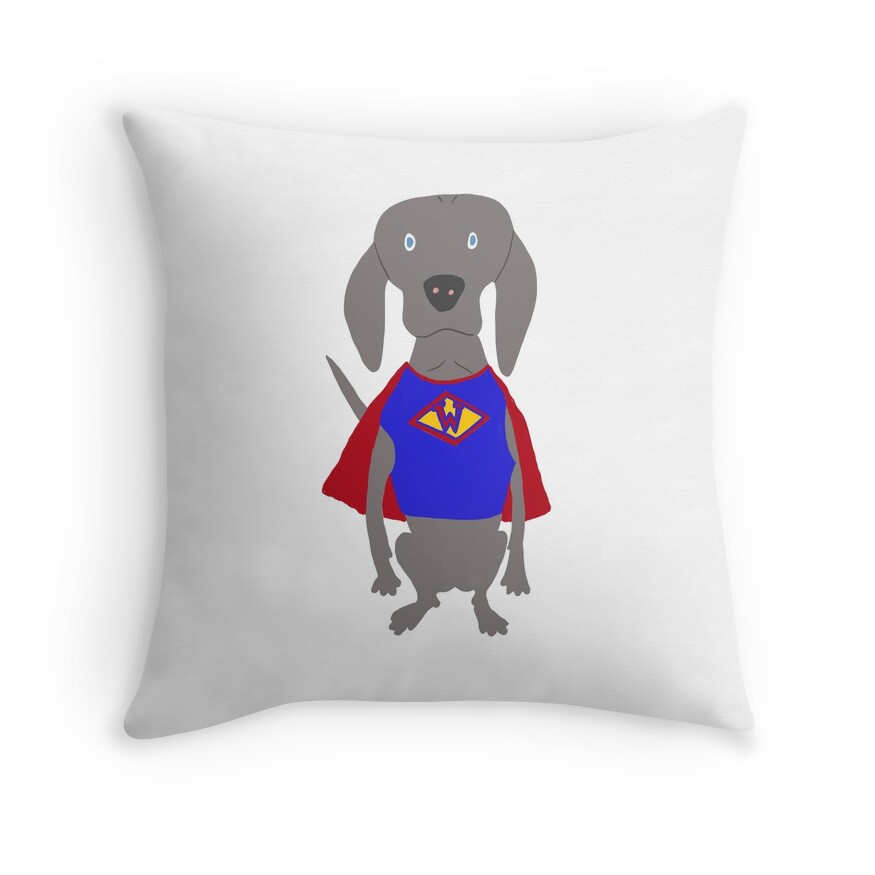 SuperWeim Grey Ghost Weimaraner Dog Hand-painted Pet Drawing