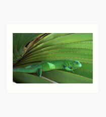 Green Paradise - Iguana on a plant Art Print