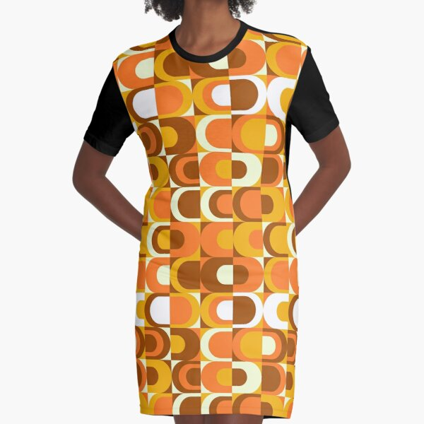 Orange Retro Industrial 70s pattern Graphic T-Shirt Dress