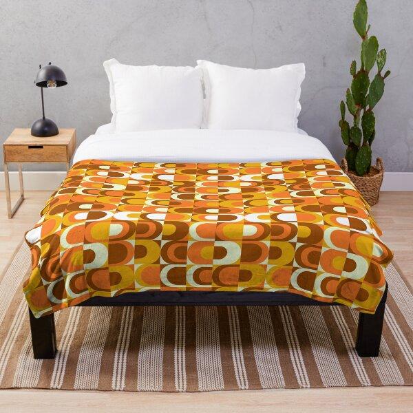Orange Retro Industrial 70s pattern Throw Blanket