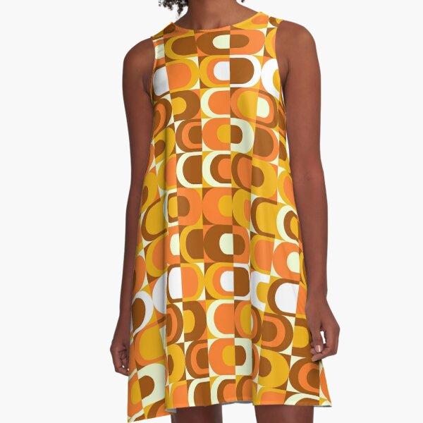 Orange Retro Industrial 70s pattern A-Line Dress