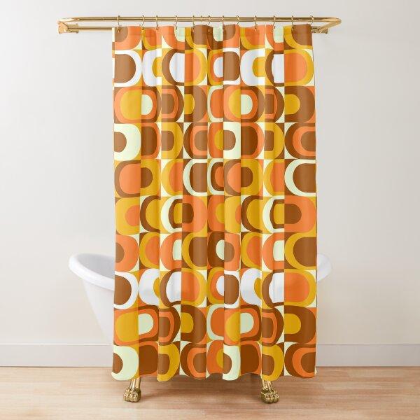 Orange Retro Industrial 70s pattern Shower Curtain