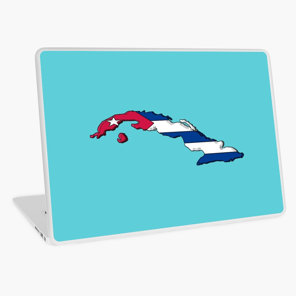 Mapa de Cuba con bandera cubana Vinilo para portátil