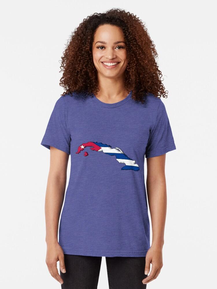 Vista alternativa de Camiseta de tejido mixto Mapa de Cuba con bandera cubana