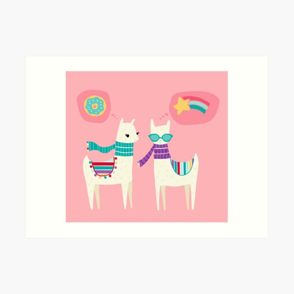 Tween Llamas on Pink Art Print