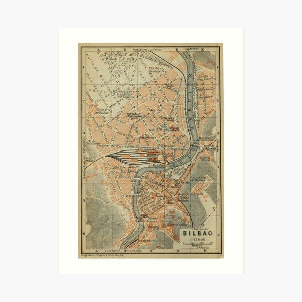 Mapa vintage de bilbao españa (1913) Lámina artística