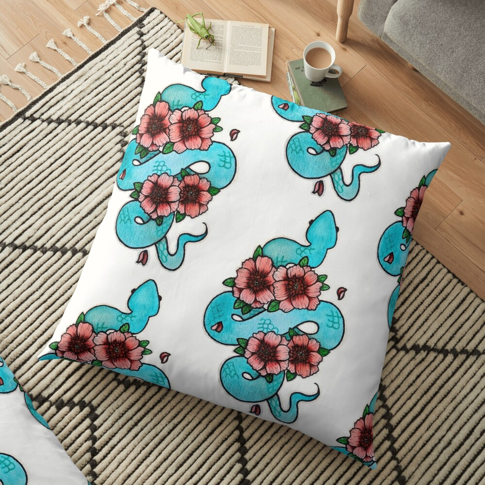 Blue White Lipped Viper Floor Pillow