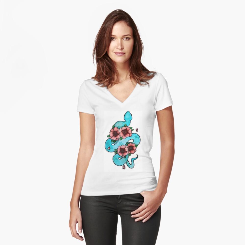 Blue White Lipped Viper Fitted V-Neck T-Shirt