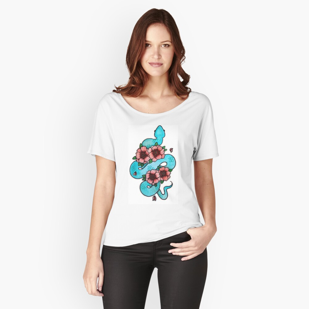 Blue White Lipped Viper Relaxed Fit T-Shirt