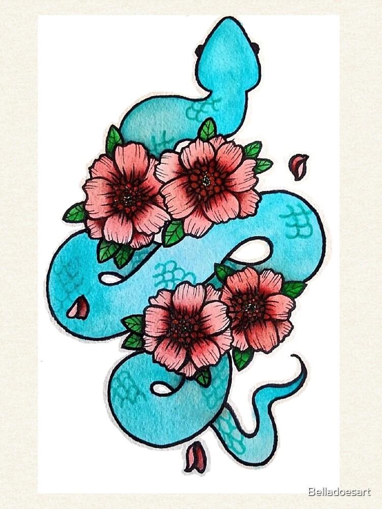 Blue White Lipped Viper by Belladoesart