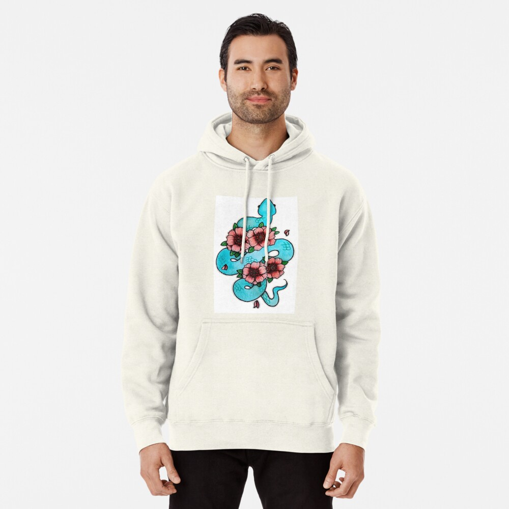 Blue White Lipped Viper Pullover Hoodie
