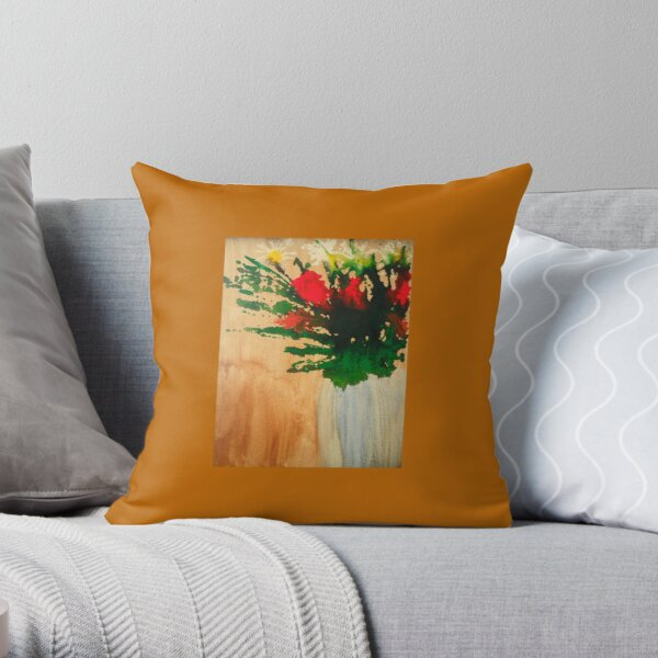 """""""Flowers in a Vase"""" Original by Tony DuPuis Throw Pillow"""
