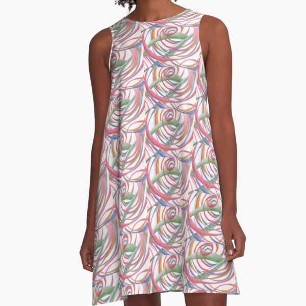 Whirlpool, Colorful Swirls Abstract Drawing by Courtney Hatcher A-Line Dress