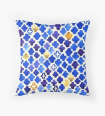 Rustic Watercolor Moroccan in Royal Blue & Gold Throw Pillow