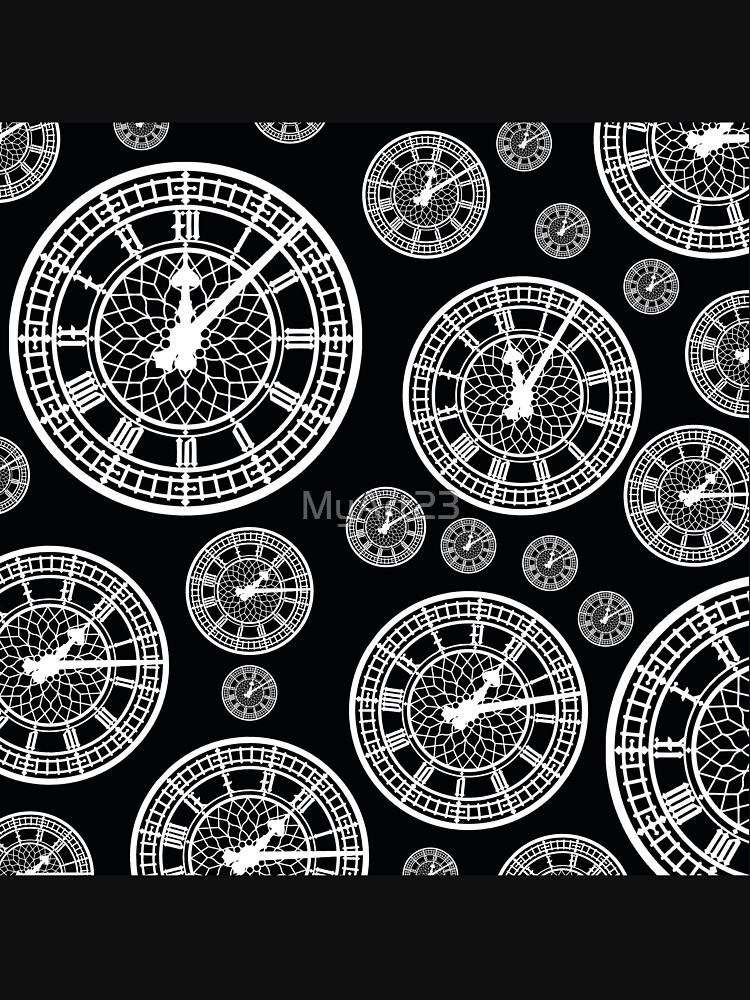Black and White Vintage Clock Pattern by MyArt23