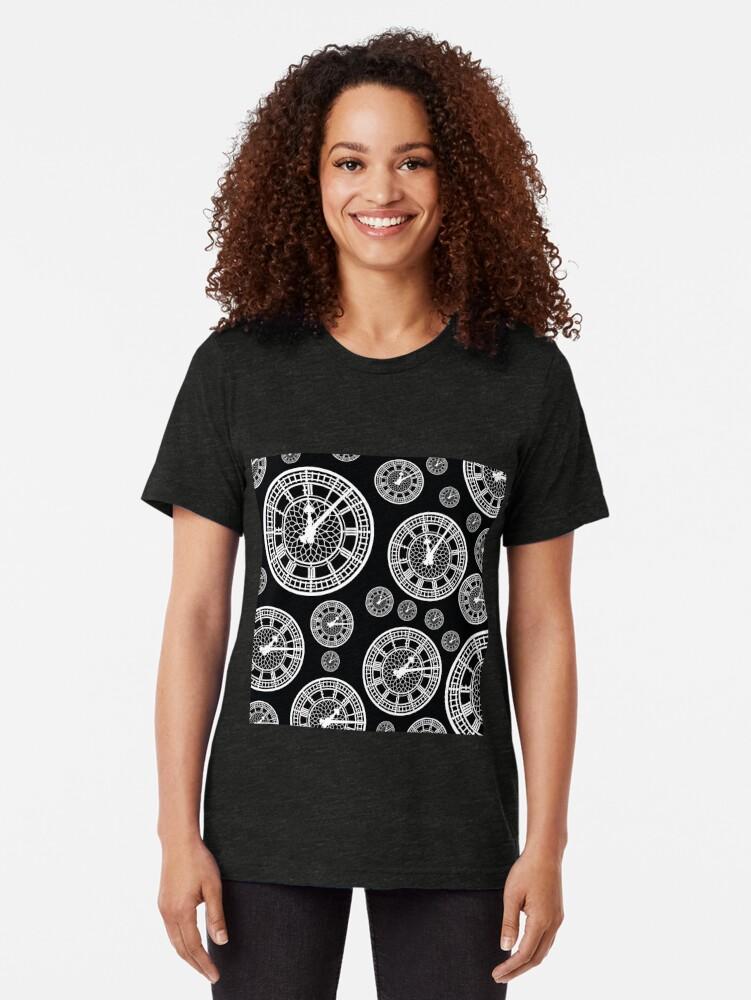 Alternate view of Black and White Vintage Clock Pattern Tri-blend T-Shirt