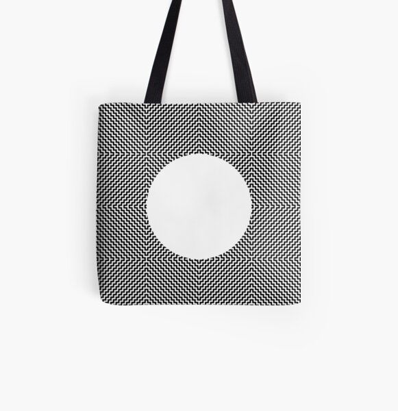 Op art - art movement, short for optical art, is a style of visual art that uses optical illusions All Over Print Tote Bag