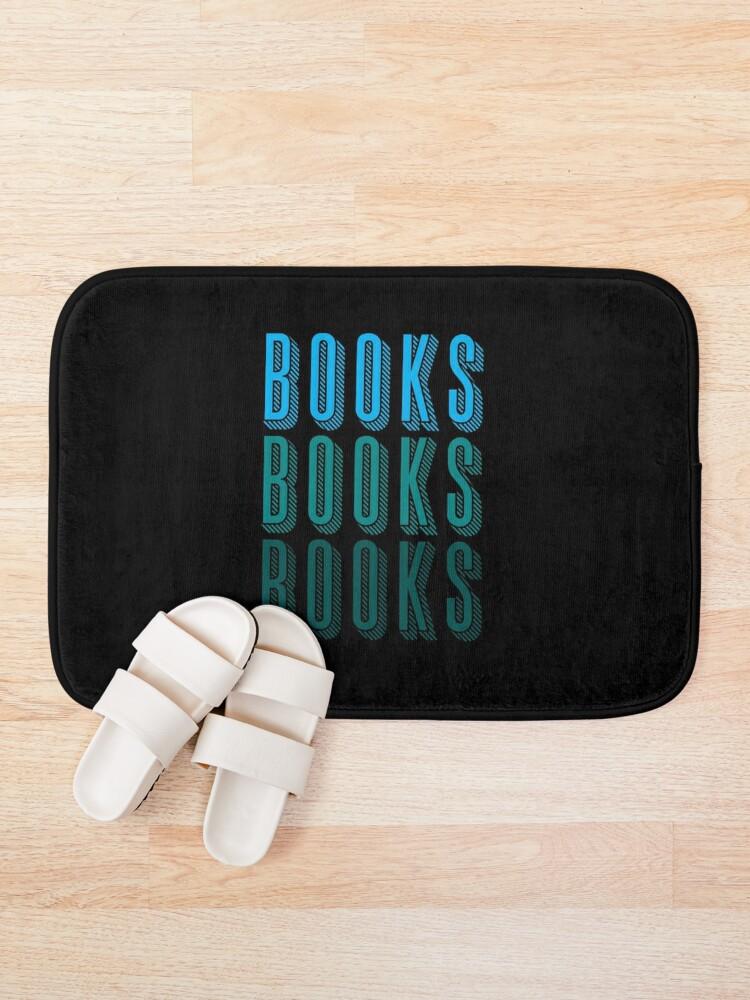 Alternate view of BOOKS BOOKS BOOKS in blue Bath Mat