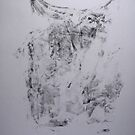 Poumons de Soie #2 -  Silk lungs - With accidental  hand - Monotype Empreinte by Pascale Baud