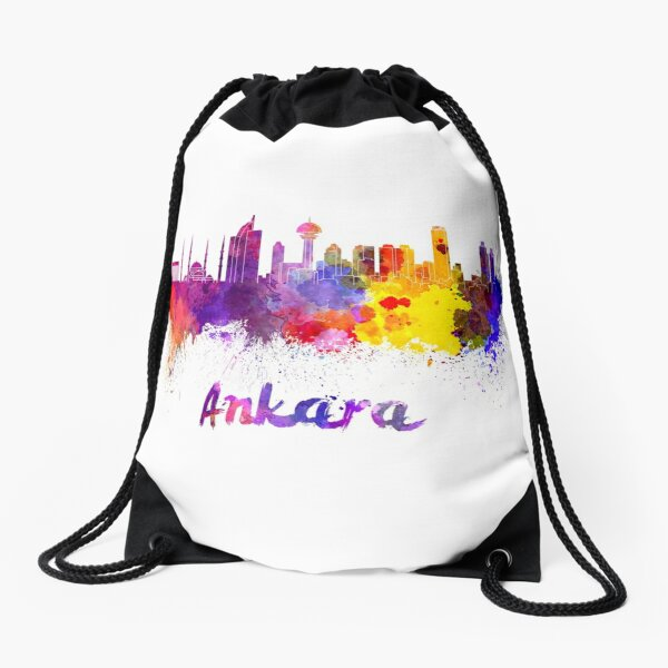 Ankara skyline in watercolor Drawstring Bag