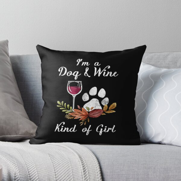 Old English Sheepdog And Wine Funny Dog Throw Pillow By Teedoozy Redbubble