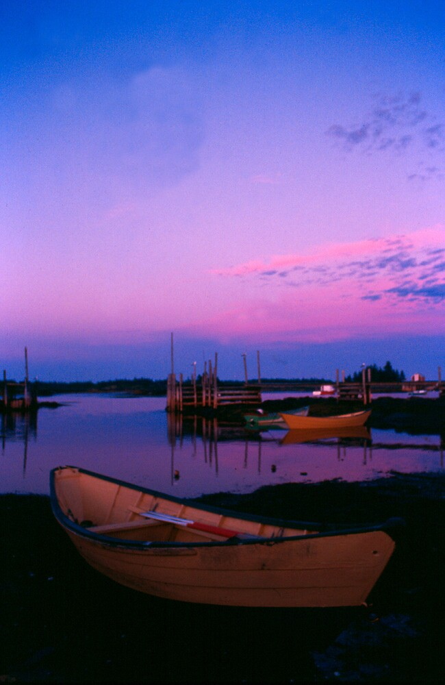 Dory at sunrise - Blue Rocks, Nova Scotia by Harv Churchill