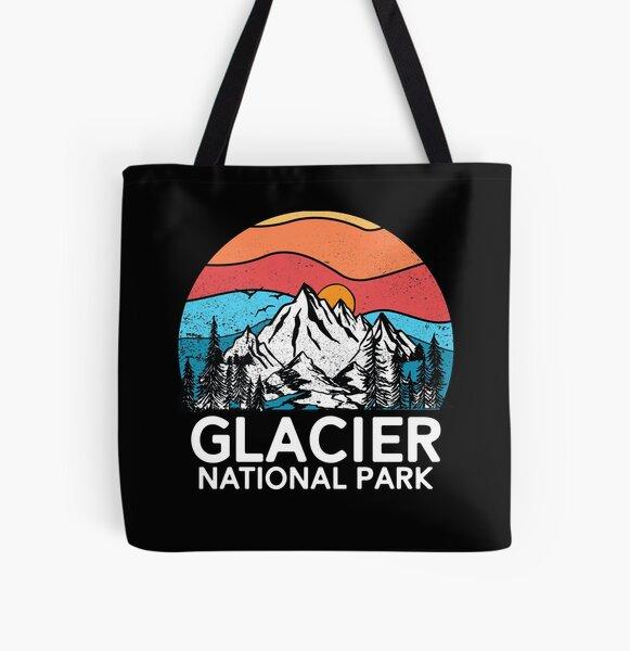 Vintage Glacier National Park Retro 80s Montana Mountain All Over Print Tote Bag