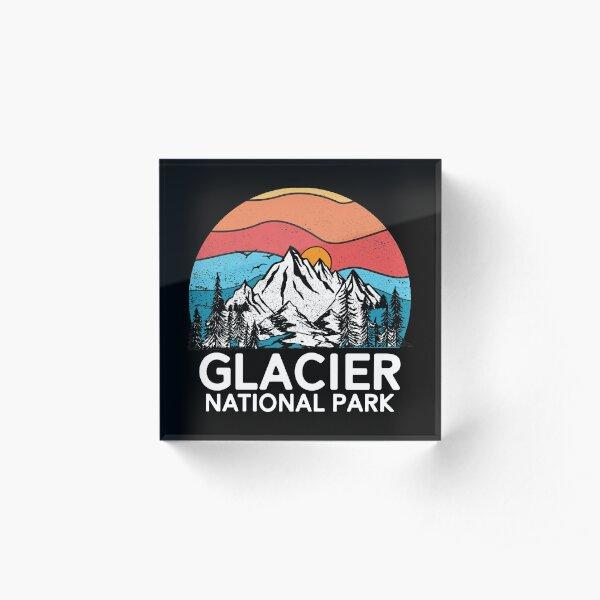 Vintage Glacier National Park Retro 80er Montana Berg Acrylblock